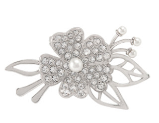 Silver Floral Brooch with Swarovski Crystals available at StoriedCharms.com