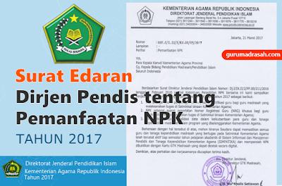 surat dirjenpendis tentang pemanfaatan npk 2017