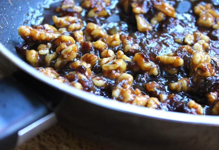 Marsala Honey Dates and Walnuts in a frying pan