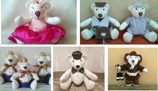 Urso de tecido para decoração de quarto de bebe