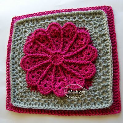 free crochet pattern 12 inch afghan square with flower  by lisaauch