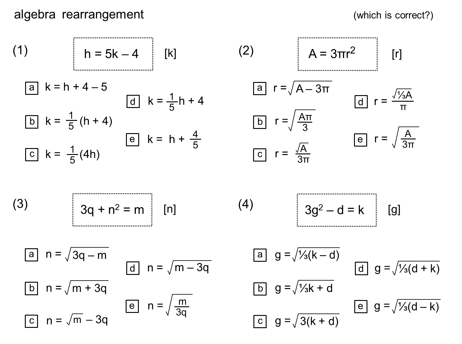 Median Practice And Quiz Questions Algebra Rearrangement