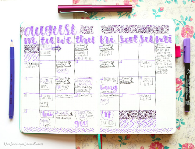August bullet journal monthly spread (end of the month)