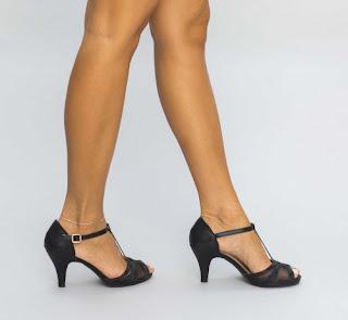 Sandale de zi cu toc mic negre de vara ieftine