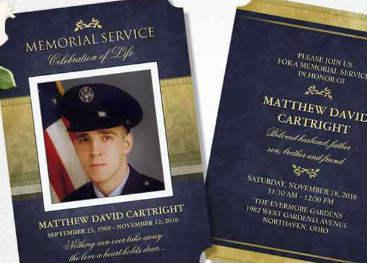 affordable custom memorial service invitations