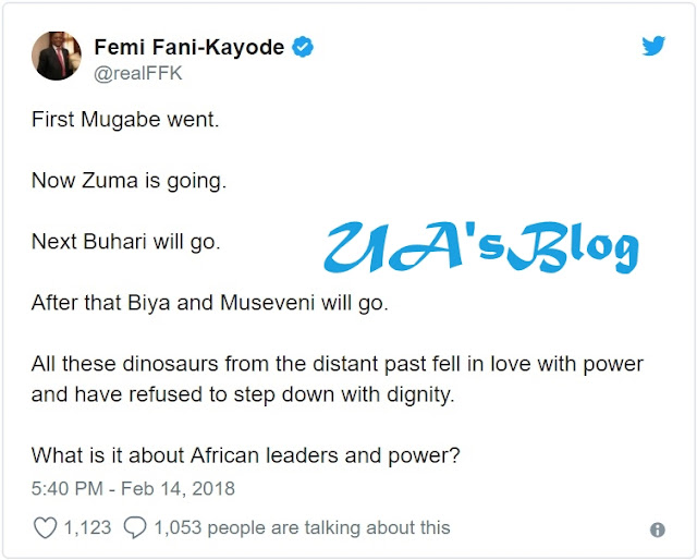 Buhari Next To Resign After Zuma - Fani-Kayode Reacts To South African President's Resignation