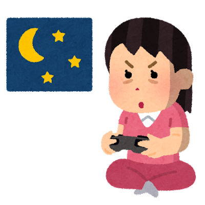 徹夜でゲームをする人のイラスト(女性)