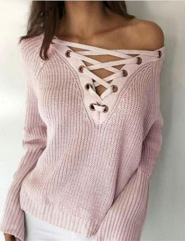 Women's Lace Up Loose Fitting Sweater