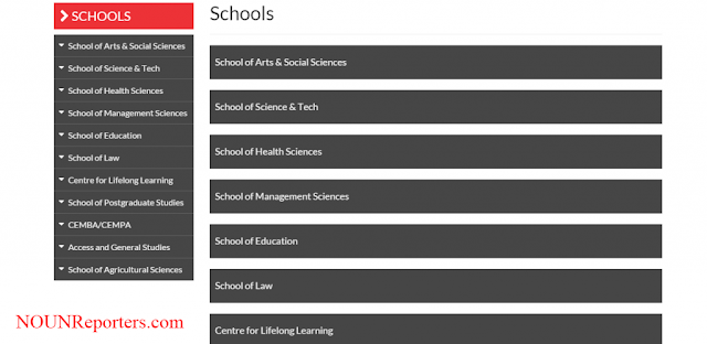 NOUN Schools and Programmes Offered