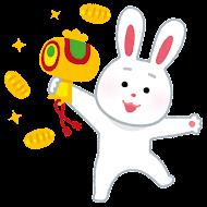 打ち出の小槌を振る兎のイラスト(卯年)