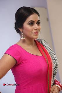 Actress Poorna Pictures in Red Salwar Kameez at Jayammu Nischayammu Raa Teaser Launch  0064