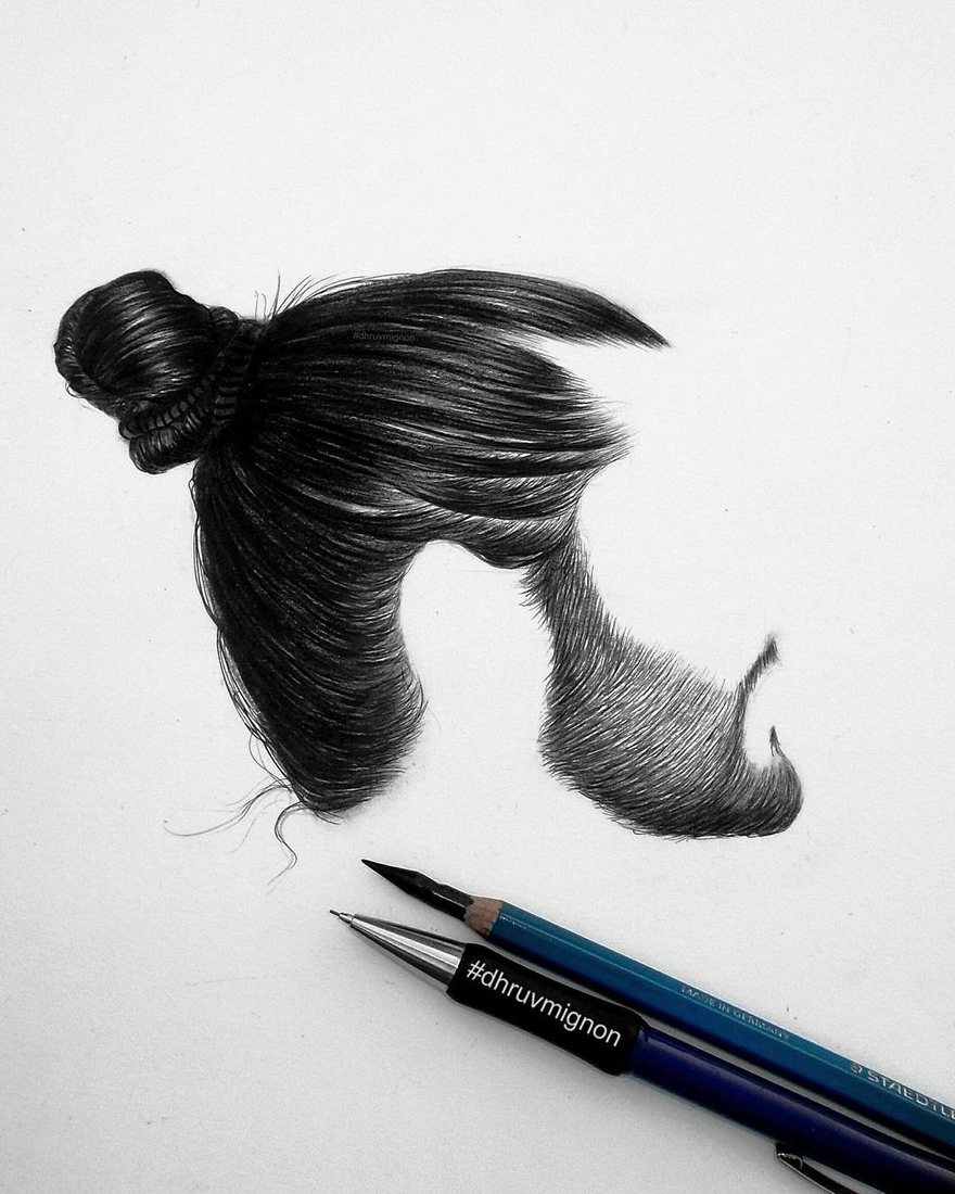 12-dhruvmignon-Minimalist-Realistic-Hair-Study-Drawings-www-designstack-co