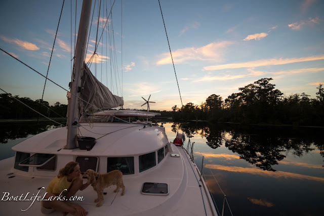 Sunset, sailing catamaran, Pasquotank River, ICW, NC
