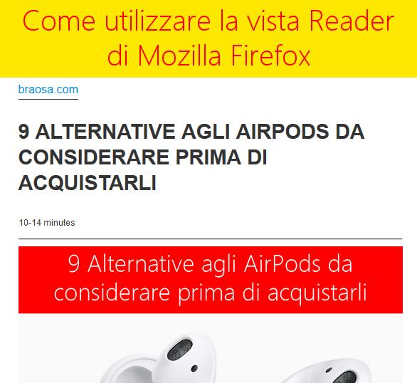 Come usare ed aprire il lettore di Firefox