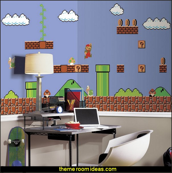 Super Mario Retro X-Large Chair Rail Prepasted Mural  Gamer bedroom - Video game room decor - gamer bedroom furniture - gamer wall decal stickers - Super Mario Brothers Wall Stickers - gamer bedding - Super Mario Brothers bedding - Pacman decor -  Arcade bedrooms -