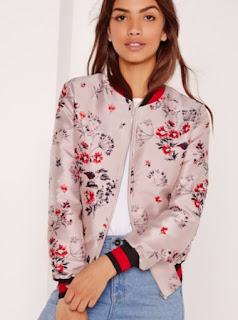 MissGuided Premium jacquard bomber jacket in light pink floral with navy and red stripe elastic trim edging