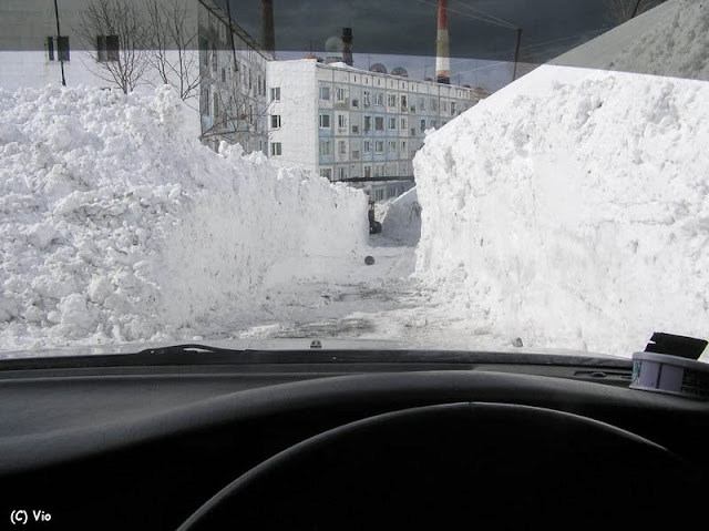 "When the roads are ""cleared"" there is only room for one car."