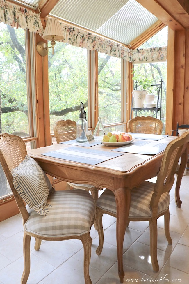 French Country Kitchen Summer to Fall Breakfast Table in Sunspace