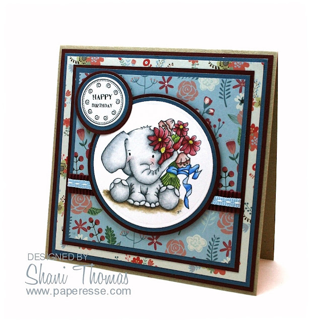 Di's Digi Stamps Ellie Elephant birthday card, by Paperesse.