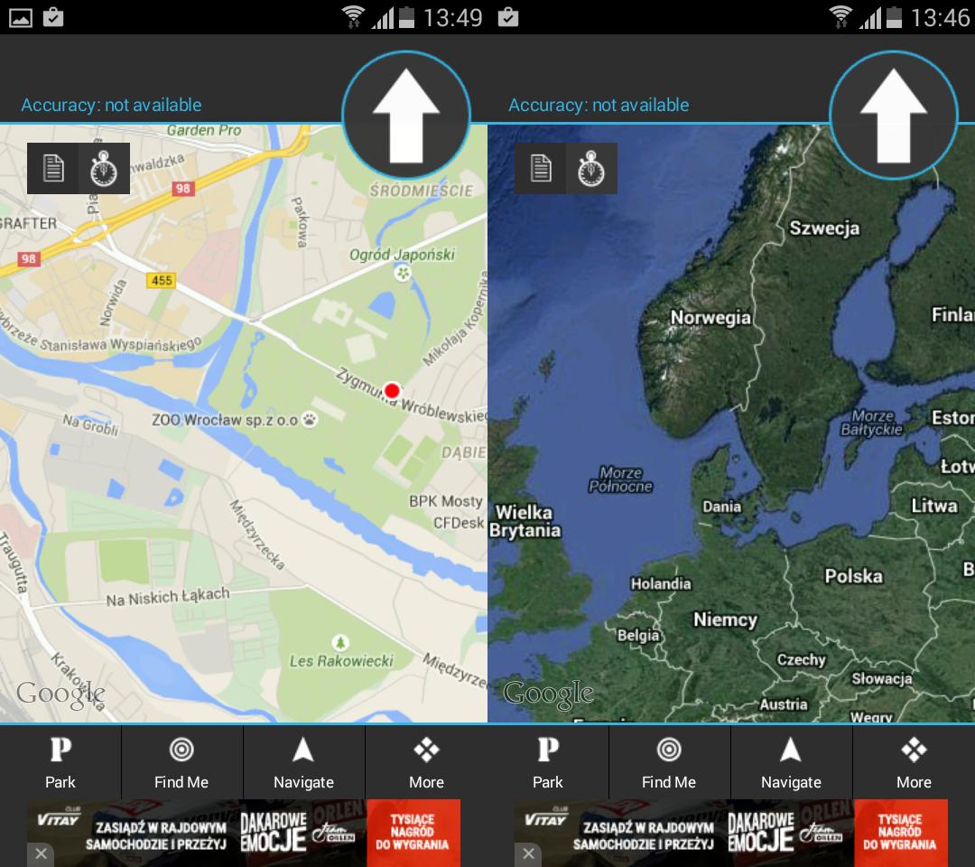 Aplikacja MyCar Locator Free