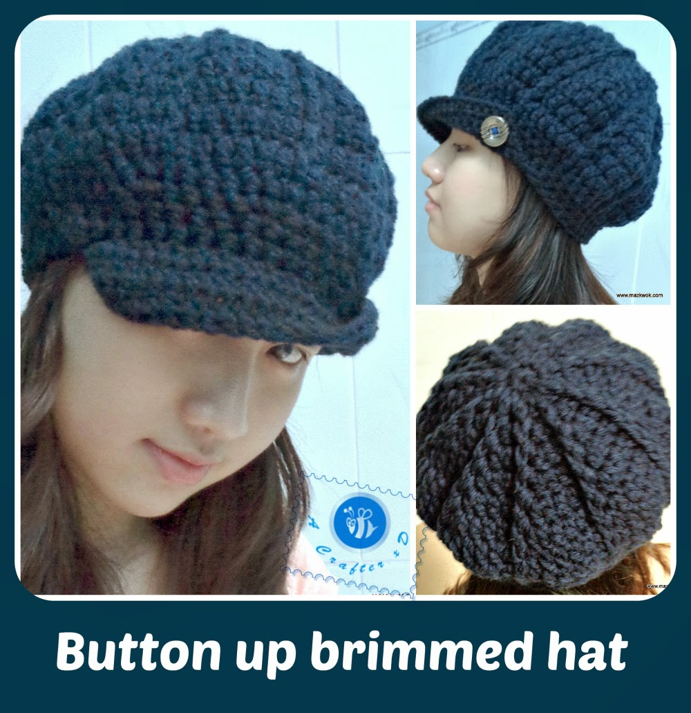 49ffe8b2e60 Button up brimmed hat - free crochet pattern