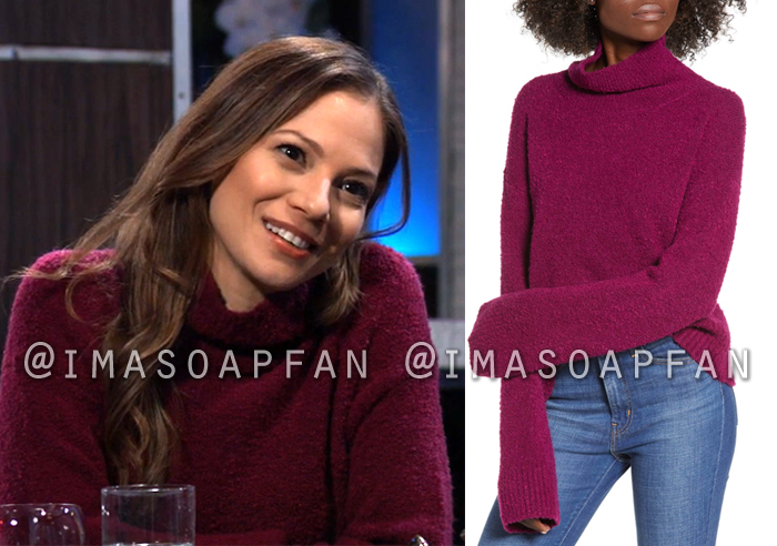 Kim Nero, Tamara Braun, Slouchy Purple Boucle Knit Turtleneck Sweater, General Hospital, GH