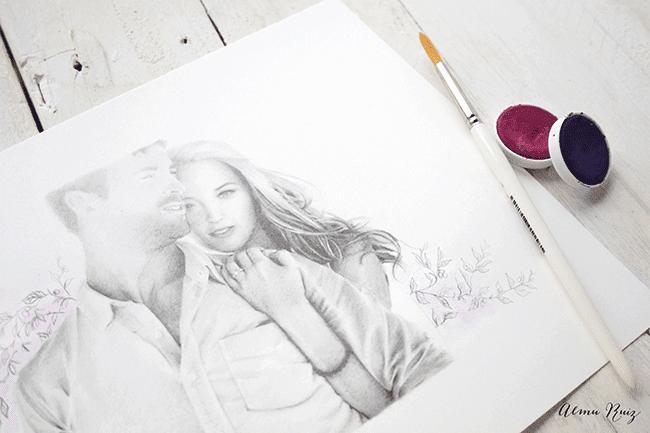 Dibujo a lápiz y acuarela sobre el amor