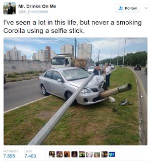 Toyota Corrolla sticks Cuban cigar, snaps selfie