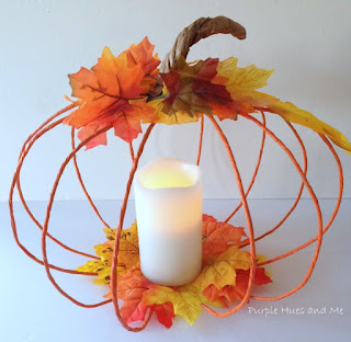 diy floral wire pumpkin candle holder