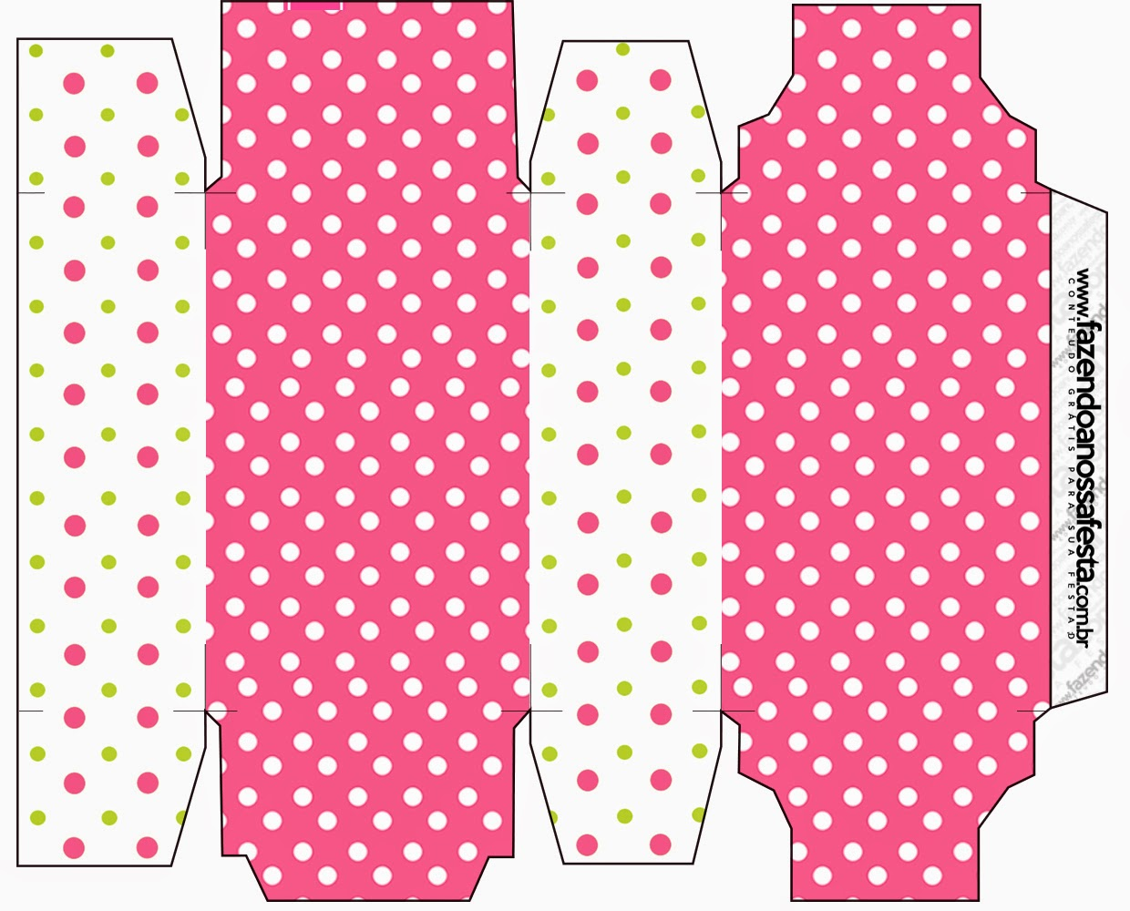 Pink, Green and White Polka Dots Free Printable Box.