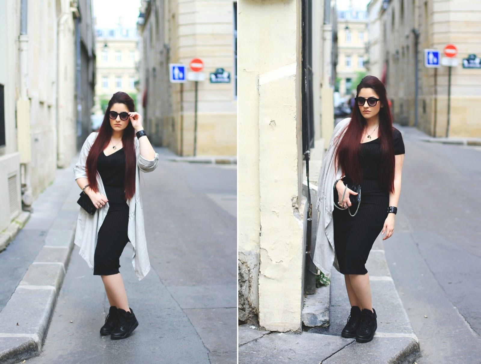 robe longue noire moulante