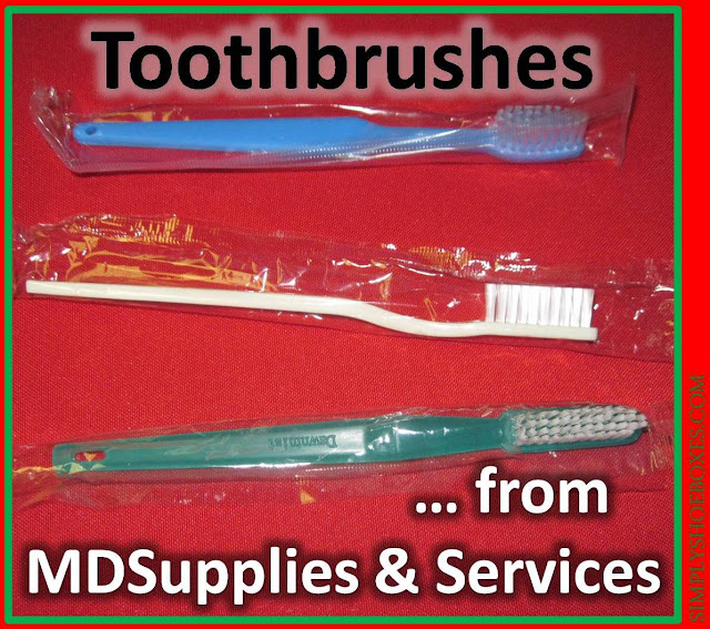 Three toothbrush reviews from MDSupplies & Services.  Options for Operation Christmas Child shoeboxes.