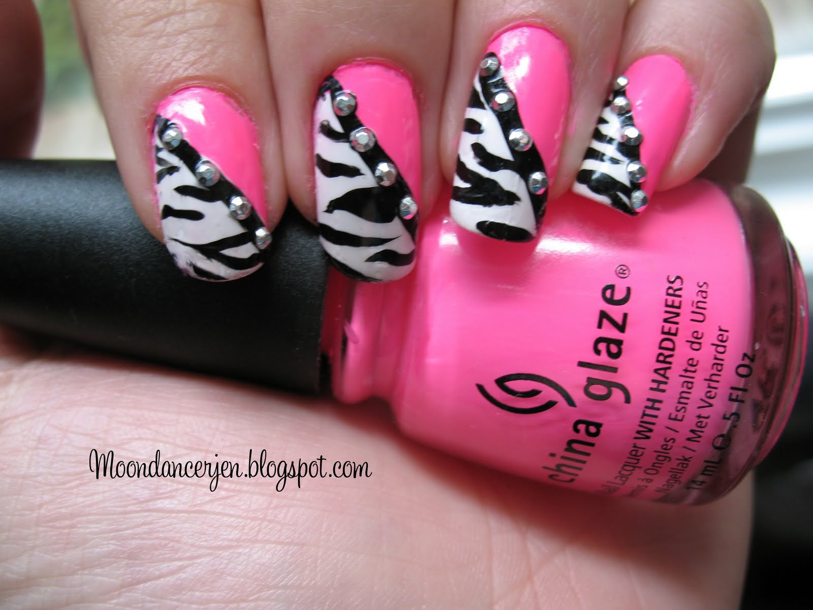 Moondancerjen's Nails: Hot Pink Zebra Nails