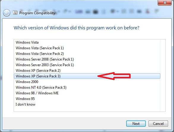 Compatibilty dengan windows xp service pack 3