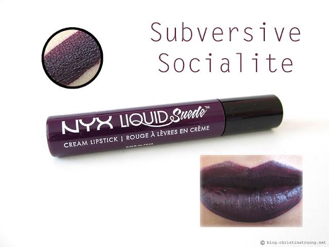 NYX Liquid Suede Cream Lipstick Review Swatches LSCL19 Subversive Socialite