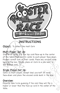Instruction front page for Roosteer Race by Roosterfin Games designed by Kurt Keller at Imagine That! Design