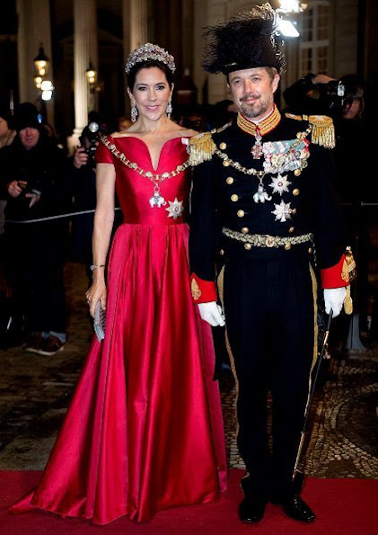 Crown Princess Mary wore a Soeren le Schmidt dress, Princess Marie wore Rikke Gudnitz dress and tiara. Princess Elisabeth by Order of the Elephant