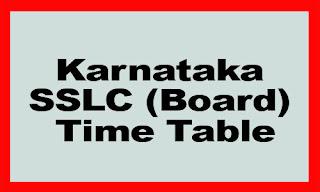 Karnataka SSLC Exam Time Table