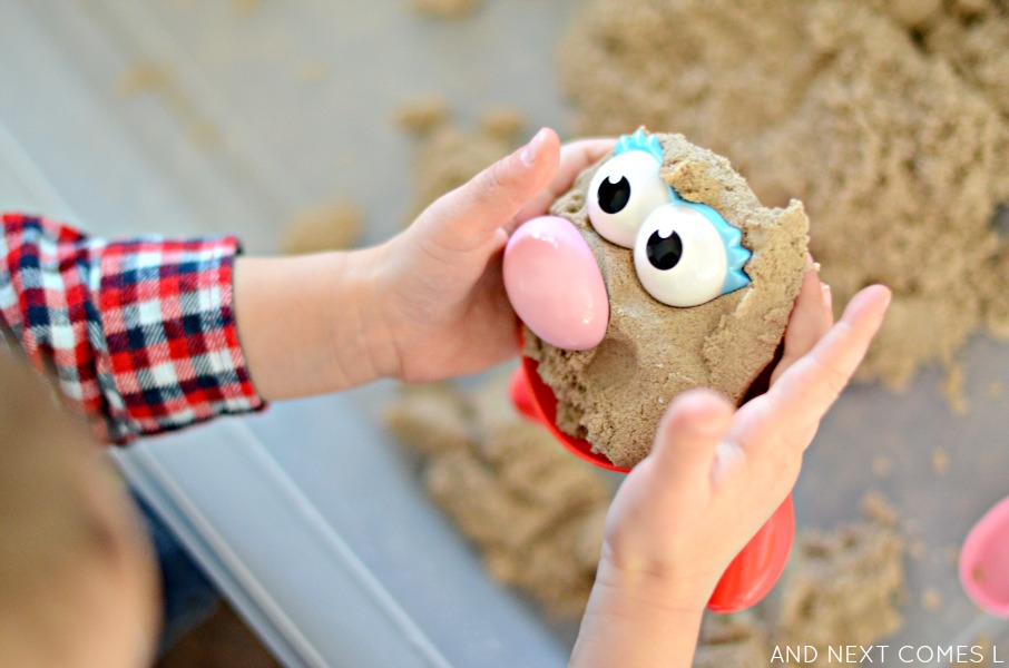 Mr. potato head activity with kinetic sand