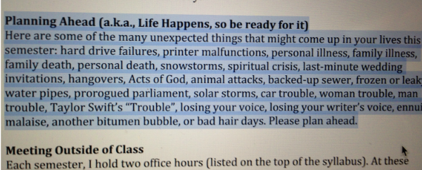 Syllabus advice - apparently life happens