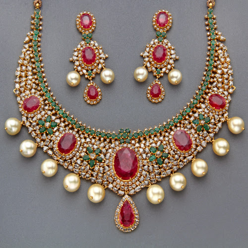 Huge Ruby Polki Set By Mangatrai Jewellery Designs
