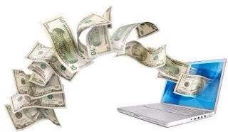 uang keluar dari layar laptop