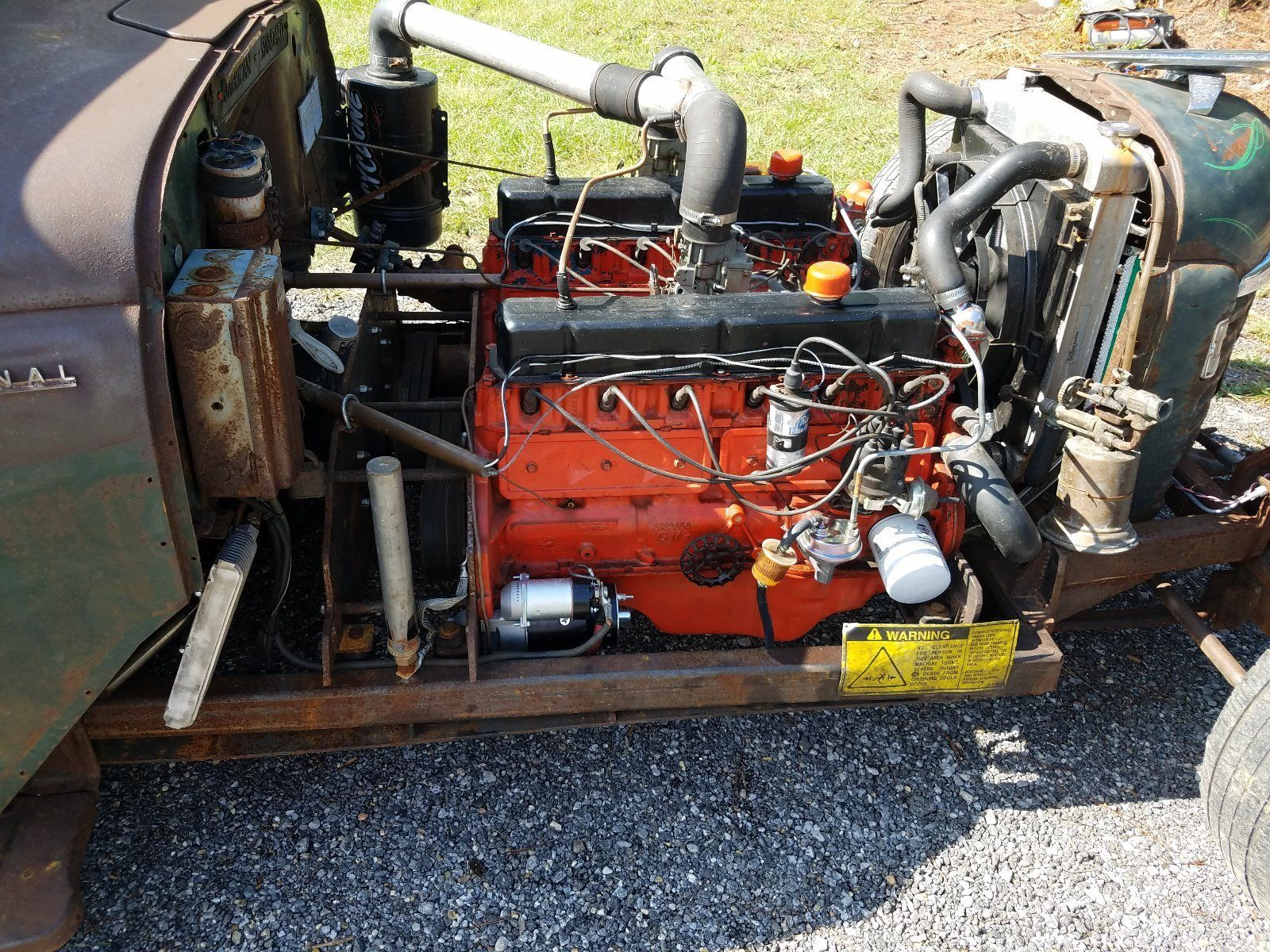 medium resolution of 53 international ratrod truck with two 230 6 cylinders turbo 350 transmission belt driven all tube chassis chevy dually rear end with 4 88 gears chain