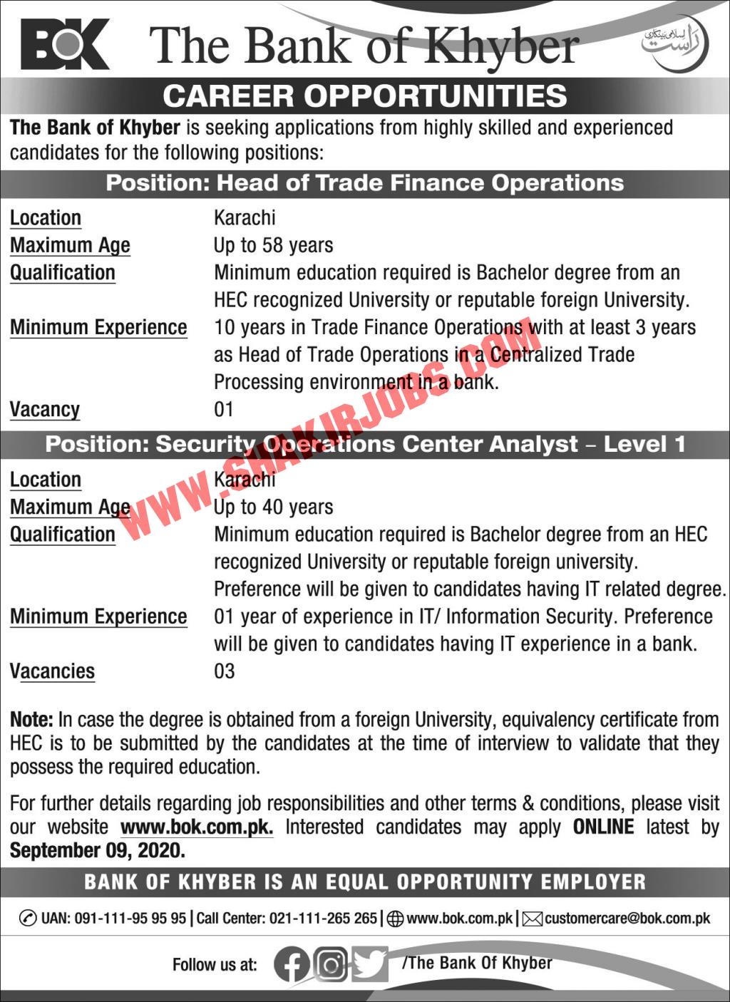 Jobs in The Bank of Khyber BOK Karachi Jobs September 2020