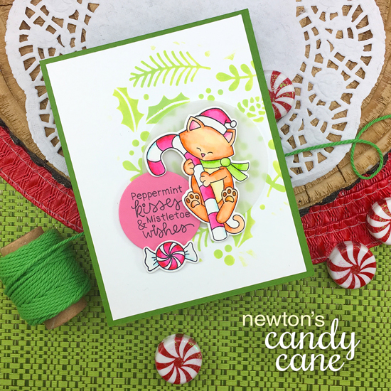 Peppermint and Cat Holiday card by Jennifer Jackson | Newton's Candy Cane Stamp Sets by Newton's Nook Designs #newtonsnook #handmade