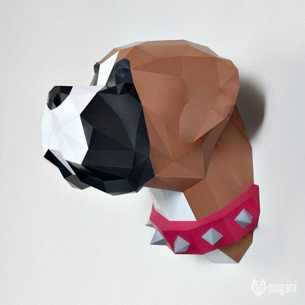 folded paper boxer dog sculpture