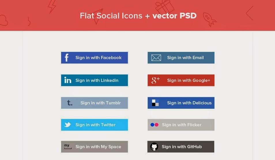 Flat Social media Vector Icons PSD