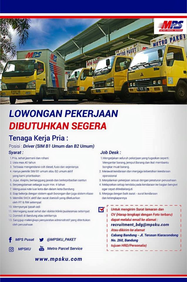 lowongan kerja driver mps bandung