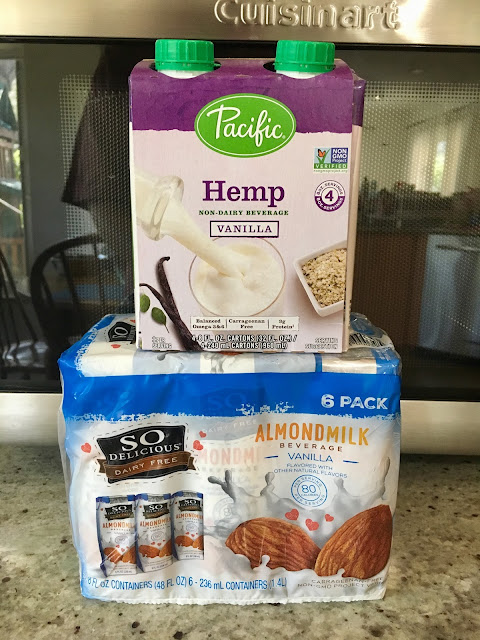 A pack of Hemp Milk Vanilla and a pack of Almond Milk Vanilla