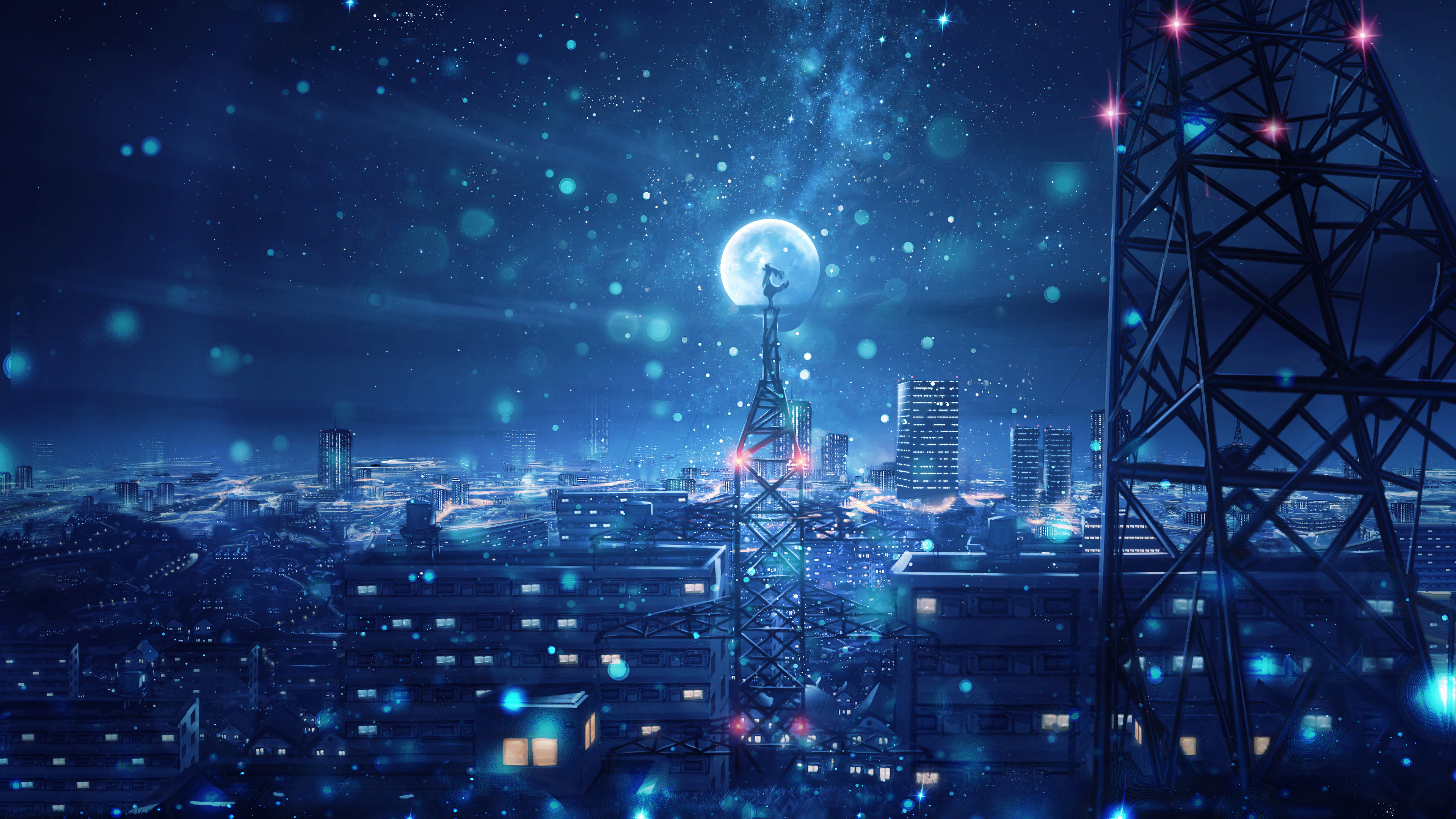 night sky city stars anime scenery uhdpaper.com 4K 135